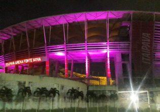 Arena Fonte Nova é iluminada de roxo em alusão ao Mês da Fibrose Cística