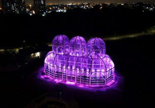 Jardim Botânico de Curitiba é iluminado de roxo em alusão ao mês da Fibrose Cística